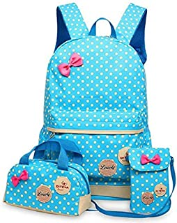 blue polka dot backpack set for girls