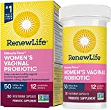 Renew Life Women's Probiotics 50 Billion Guaranteed, Probiotic Supplement, 12 Strains, Shelf Stable, Gluten Dairy & Soy Free, 30 Capsules, Ultimate Flora Women's Vaginal - 60 Day Money Back Guarantee
