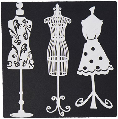 3dRose LLC 8 x 8 x 0.25 Inches Mouse Pad, Pretty Women's Dress Forms in White on Black Background (mp_65171_1)
