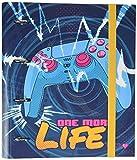 Carpeta 4 anillas troquelada premium Gamer, One More Life - Archivador A4 - Carpeta anillas tapa dura / Archivador 4 anillas - Carpeta anillas A4 - Vuelta al cole material escolar