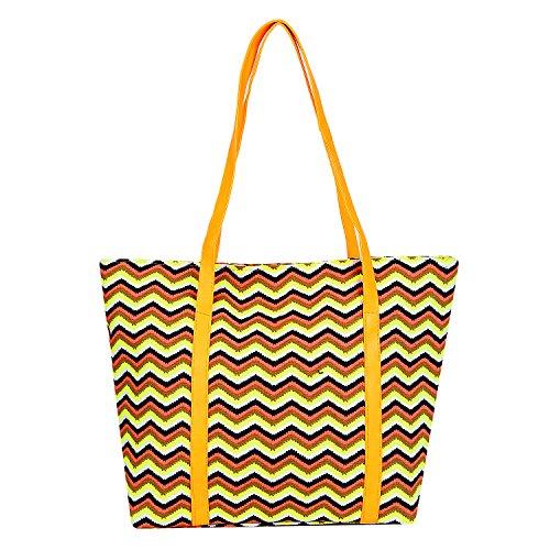 DonDon Bolso de mujer para la playa y la compra en neón Chevron Look, 1 (Multicolor) - BBAG28
