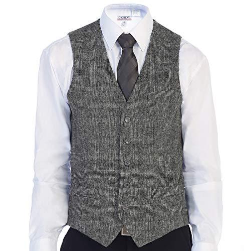 Gioberti Men's 5 Button Slim Fit Formal Herringbone Tweed Suit Vest, Gray Checked, Small