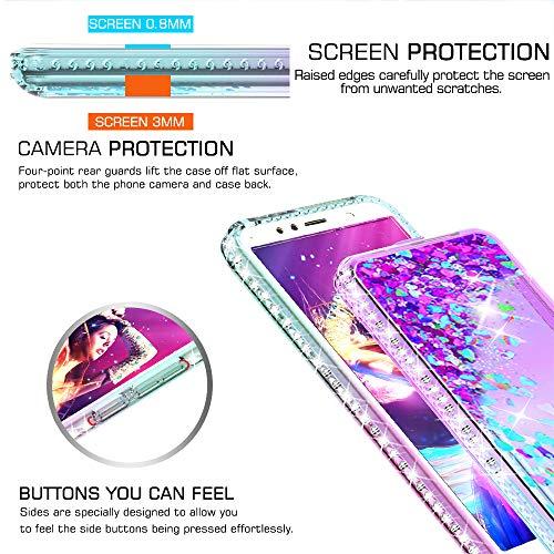 LeYi Hülle Huawei Y6 2018 Glitzer Handyhülle mit Panzerglas Schutzfolie(2 Stück), Diamond Cover Bumper Schutzhülle für Case Huawei Y6 2018 Handy Hüllen ZX Gradient Turquoise Purple - 5