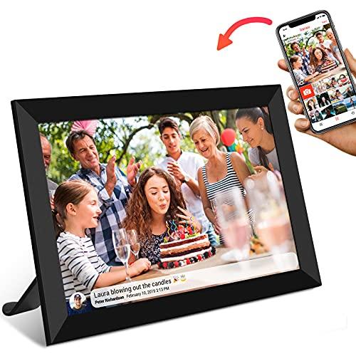FRAMEO WiFi Digitaler Bilderrahmen,10.1 Zoll WLAN Fotorahmen FHD IPS Touchscreen Fotos und Videos können jederzeit und von überall aus, über die App geteilt Werden Speicher