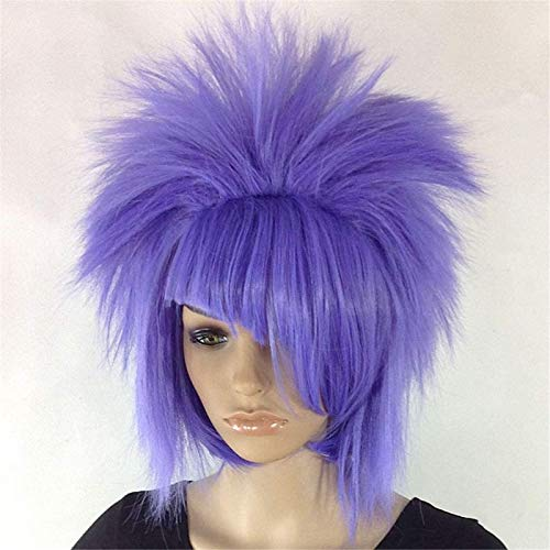 Espejo Hermosa Peluca Larga Ondulada Pelucas para Mujeres Super Star Punk Rock Rocker Wig Multicolor Opcional Halloween, Pelucas de Peluca de Cosplay (Color: Rojo) Pelucas de Fiesta (Color : Purple)