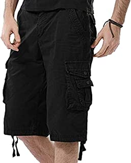 Osmyzcp Mens Loose Fit Shorts Solid Color Cargo Shorts