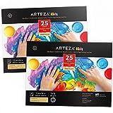 ARTEZA 30,5x40,6 cm Album Disegno Bambini per Colori a Dita, Confezione da 2, 50 Fogli (54lb / 80gsm), 25 Fogli Ciascuno, Rilegati a Colla, Carta Satinata per Pittura Bambini a Dita e Tecniche Miste