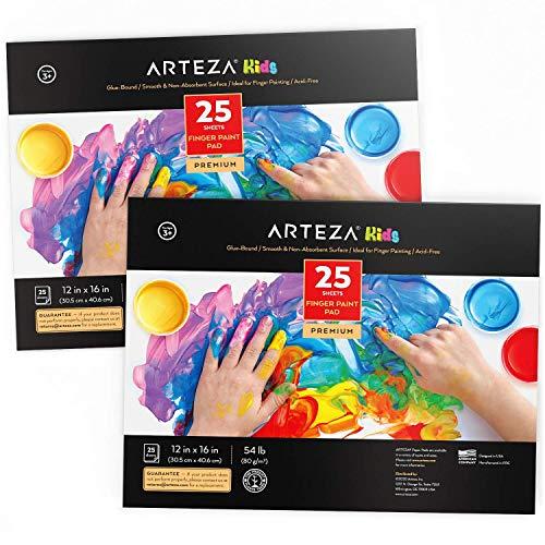 Arteza Blocs de papel de pintura de dedos para niños, (30,5 x 40,6 cm), 70 gsm, pack de 2 blocs encolados, 25 hojas por cuaderno, 50 en total, papel satinado para pintar con las manos y medios mixtos