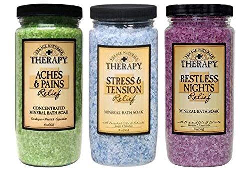 Village Naturals Therapy Mineral Bath Soak Variety Set 3 Pack - Restless Nights, Aches & Pain,...