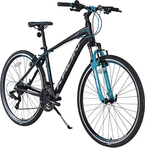 KRON TX-100 Aluminium Mountainbike 28 Zoll | 21 Gang Shimano Kettenschaltung mit V-Bremse | 20 Zoll Rahmen MTB Erwachsenen- und Jugendfahrrad | Schwarz Blau