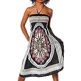 Diva-Jeans Damen Sommer Aztec Bandeau Bunt Tuch Kleid Tuchkleid Strandkleid Neckholder H112, Größen:Einheitsgröße, Farben:F-026 Schwarz