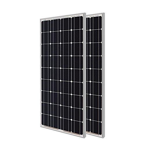 Renogy 2 Pieces 100W Monocrystalline Photovoltaic PV Solar Panel Module, 12V Battery Charging