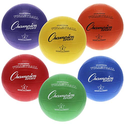 Champion Sports Rubber Volleyball Official Size for Indoor and Outdoor Use Durable Regulation Volleyballs for Beginners Competitive Recreational Play Premium Volleyball Equipment Assorted