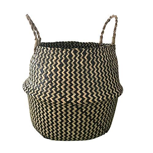 COJJ Wave pattern middle diameter aquatic grass non bamboo rattan flower pot storage hanging bag storage 2 pieces