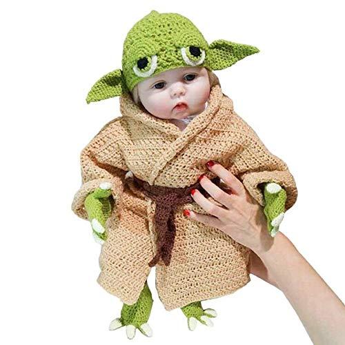 YOUZHI Baby Yoda Disfraz Infantil Traje Tejido A Mano Novedad Niño Yoda Disfraz De Halloween Cosplay para 0-6 Meses Baby Boy Girl Fotografía Prop Trajes
