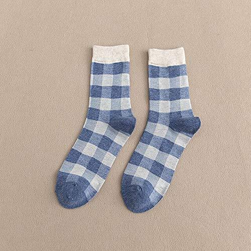 5 Pares/Paquete De Calcetines De Mujer con Estampado De Cuadros A La Moda Japoneses Streetwear Calcetines Cortos Mujer Monopatín Lindo Calcetín Azul