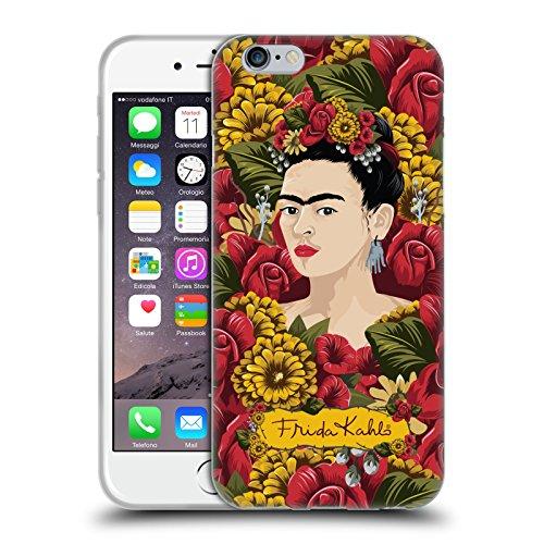 Head Case Designs Licenza Ufficiale Frida Kahlo Pattern Ritratto Floreale Rosso Cover in Morbido Gel Compatibile con Apple iPhone 6 / iPhone 6s