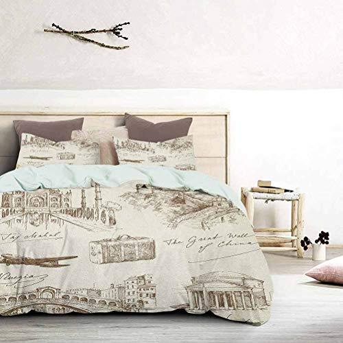 UNOSEKS LANZON - Juego de ropa de cama con diseño de monumentos famosos en el mundo con avión y...