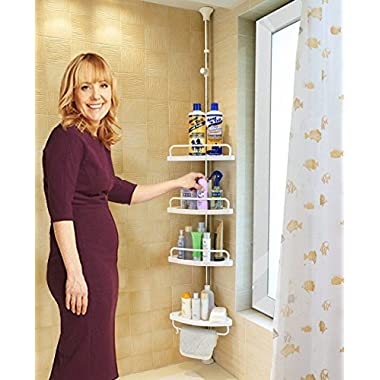Alice Constant Tension Shower Caddy Pole, Commecial Grade Rustproof Corner Rack - Ivory