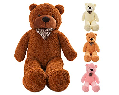 MyTeddyWorld Riesen Teddy Bär XL-XXXL Teddybär 140-200 cm samtig weich Plüsch Kuscheltier Plüschbär Farbwahl Dunkelbraun 160 cm