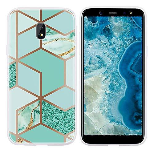 SEEYA pour Samsung J3 (2017) Coque Motif Marbre Géométrique 3D Pastel Vert Souple TPU Silicone Doux Housse de téléphone Protection Bumper Ultra-Mince Fine Étui pour Samsung Galaxy J3 2017