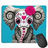 Day of The Dead Sugar Skull Baby Elephant Mouse Pad with Stitched Edge, Non-Slip Rubber Base Mousepad for Laptop, Computer & Pc