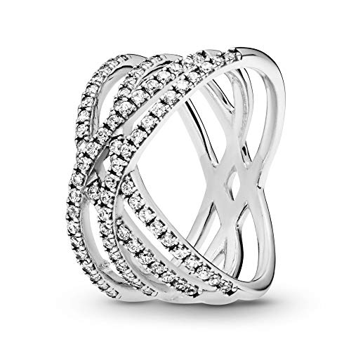 Pandora Jewelry Entwined Lines Cubic Zirconia Ring in Sterling Silver, Size 6