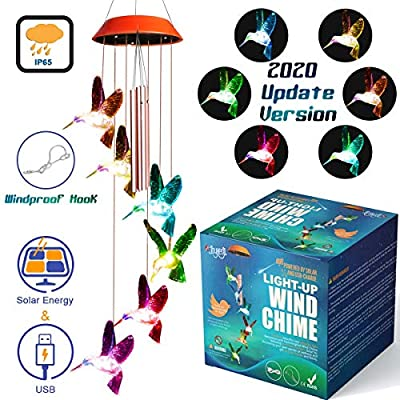 JOYXEON Wind Chimes Outdoor ?2020 Updated Version? Solar Hummingbird Wind Chimes with 3 Tuned Tubes Color Changing LED Mobile USB & Solar Hummingbird Lights with Anti-Fall Hook as Night Garden Decor