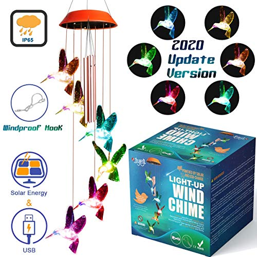 JOYXEON Wind Chimes Outdoor 【2020 Updated Version】 Solar Hummingbird Wind Chimes with 3 Tuned Tubes Color Changing LED Mobile USB & Solar Hummingbird Lights with Anti-Fall Hook as Night Garden Decor