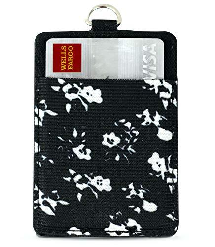 Slim Zario Keychain Wallet Lanyard - Minimalist RFID Card Holder Keychain for Women, Black Floral