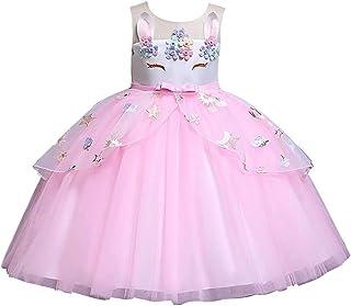 5be22db9d Baiomawzh Niña Vestido Verano Disfraz de Princesa Vestidos sin Mangas  Volantes Tutú Falda Vestido de Fiesta
