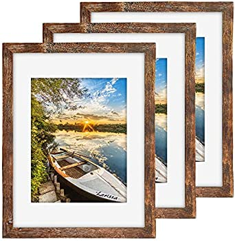3-Pack Qeqrug 11 x 14 Rustic Picture Frame with 8x10 Mat