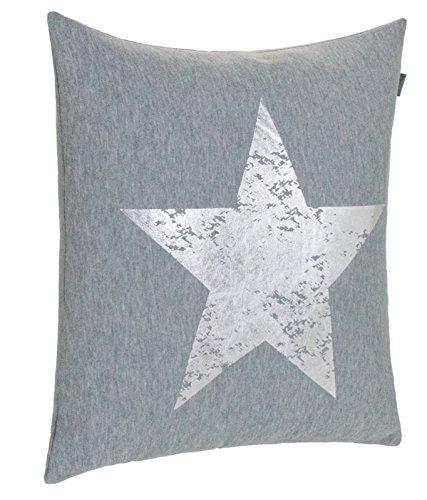 Dekokissen Zierkissen Couchkissen Sofakissen Motivkissen Sterndruck - mit Füllung kuschelig und weich - Größe: 45x45 cm - Grau/Silber