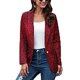 RK-HYTQWR Chaqueta Blazer de Solapa de Manga Larga para Mujer Abrigo Retro de Leopardo con un botón para Oficina, Rojo M Traje pequeño con Estampado de Leopardo, Rojo