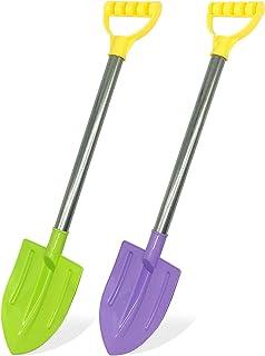 Dsmile 2 Pack Beach Shovels for Kids, 24.4 Inch Long Sand Shovels Gardening Tools Snow Shovel Durable Stainless Steel Hand...