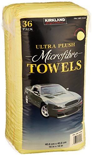 Kirkland Signature Ultra High Pile Premium Microfiber Towels, 36 Count (Pack of 1), Yellow - 713160
