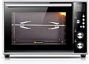 Horno tostado para hornear de 40 litros, función de asado a la plancha, horno digital con convección de 1600 vatios, revestimiento eléctrico en horno aluminizado, negro Incluye bandeja para hornear, a