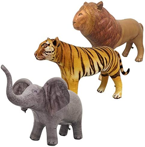 Jet Creations Safari 3 Pack Lion Tiger Elephant Inflatable Air Stuffed Plush Animal Great for product image