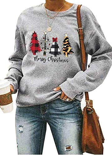 Merry Christmas Sweatshirt for Women Plaid Leopard Tree Long Sleeve Pullover Lightweight Tee Tops Grey