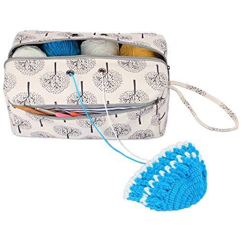 Luxja Tasche für Wolle, Handarbeitstasche Häkeln, Stricken Tasche für Garn Stränge, Häkelnadeln, Stricknadeln (bis 10 Zoll) und Andere Kleines Zubehör
