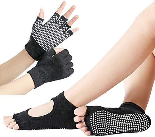 ECOSWAY Sports Fitness Yoga Socken und Handschuhe Set Five-Toe Anti-rutsch Atmungsaktiv Handschuhe Socken Set - Schwarz, Semi-Finger