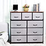 KINWELL 9Drawers Extra Wide Fabric Storage Organizer Clothes Drawer Dresser with Sturdy Steel Frame, Wooden Tabletop, Easy Pull Fabric Bins Organizer Unit for Bedroom Hallway Entryway Closet