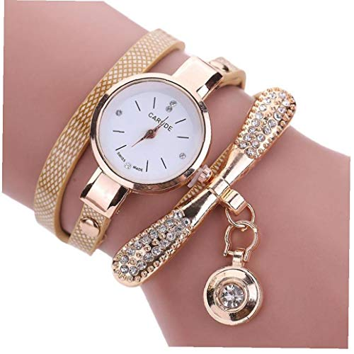 xiaocheng Kreative Perle Mit Strass Damenmode Runde Armbanduhr Analog Quarz-Uhr Mit Ultradünnen Metall Armband Golden (mit Knopfzelle)