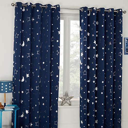 Dreamscene Galaxy Star-Cortinas térmicas Opacas (2 Unidades, con Ojales), diseño metálica, Estrellas de Luna Azul Marino, 117 x 183 cm