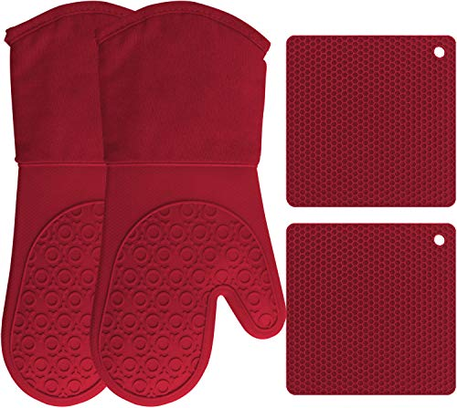 HOMWE Silicone Oven Mitts and Pot Holders, 4-Piece Set, Heavy Duty Cooking Gloves, Kitchen Counter Safe Trivet Mats, Advanced Heat Resistance, Non-Slip Textured Grip (Red)