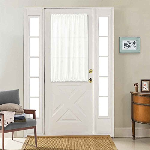 jinchan French Door Curtains White 40 Inch Privacy Textured Rod Pocket Drapes for Living Room Tieback Included Casual Weave One Panel