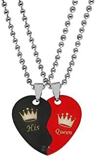 Sullery Valentine Day Gift His Queen Crown Broken Heart Couple Dual Locket with 2 Chain His and Her Gift for Lovers