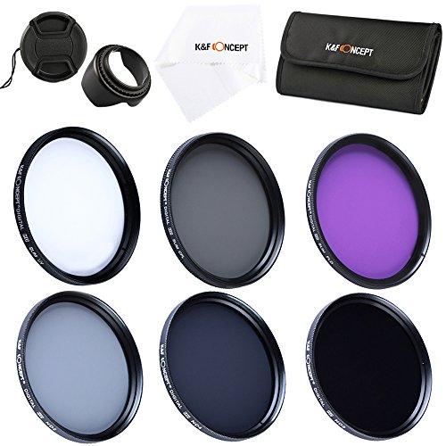49mm UV CPL FLD ND2 ND4 ND8 Filtro, K&F Concept Polarizzatore Circolare Filtro ND a densità variabile + paraluce +Cappuccio di lente + Stoffa di pulizia per lente per Sony NEX5 NEX7 Canon 700D 600D