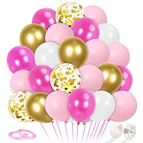 64 Piezas Globos Rosa y Blancos Oro, Rosa Metálicos Confeti Guirnalda Arco Kit, para Bebe 1 Año Cumpleaños,...