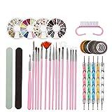 Kit de Decoración de Uñas, Kit de Diseño de Arte de Uña, 5 Rotuladores de Puntos, Pedrería de Colores, Hilo Dorado para Uñas, Accesorios para Diseño de Uñas -Rosado
